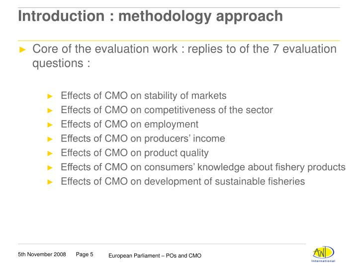 Introduction : methodology approach