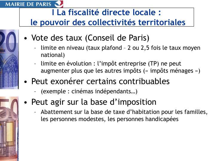 I La fiscalité directe locale :