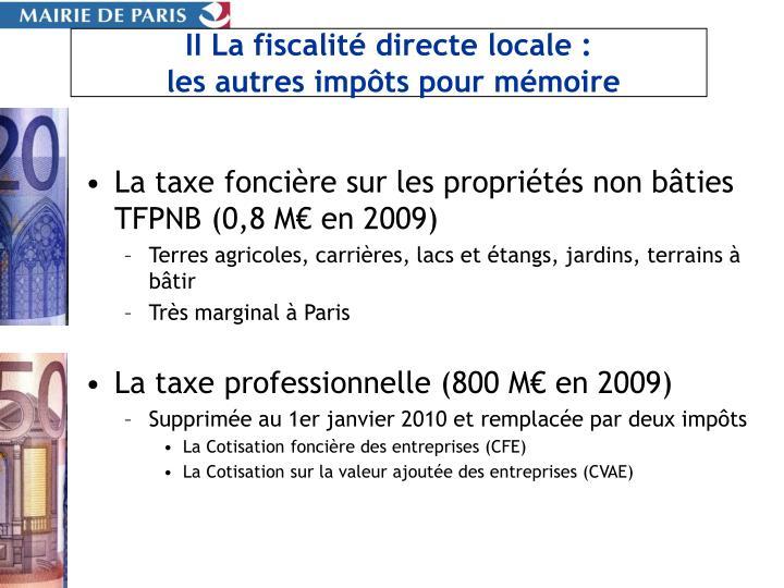 II La fiscalité directe locale :