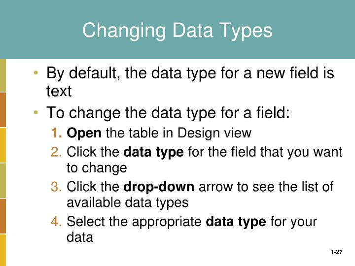 Changing Data Types