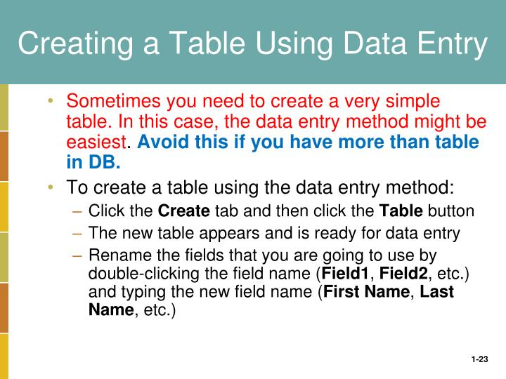 Creating a Table Using Data Entry