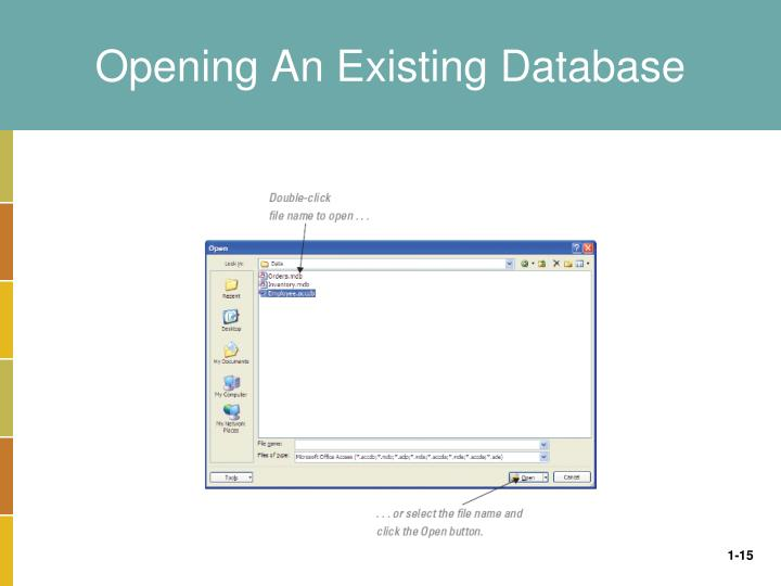 Opening An Existing Database