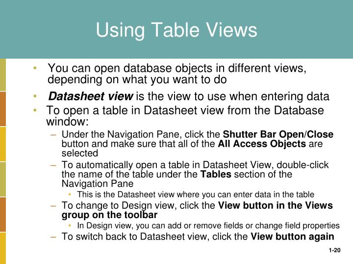 Using Table Views