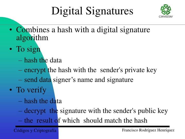 Combines a hash with a digital signature algorithm