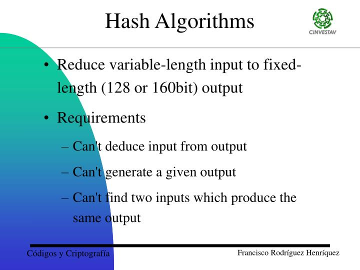 Reduce variable-length input to fixed-length (128 or 160bit) output