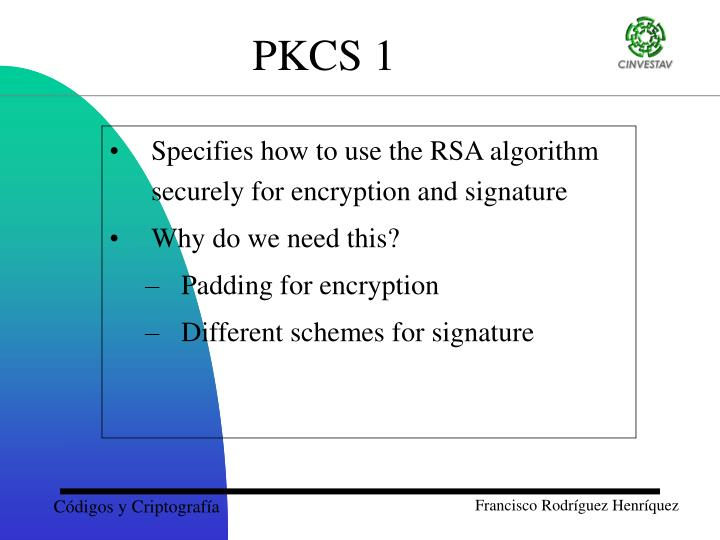 Specifies how to use the RSA algorithm securely for encryption and signature