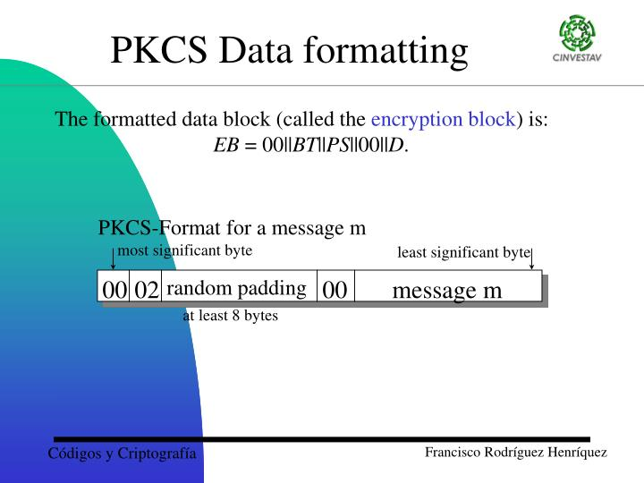 PKCS Data formatting