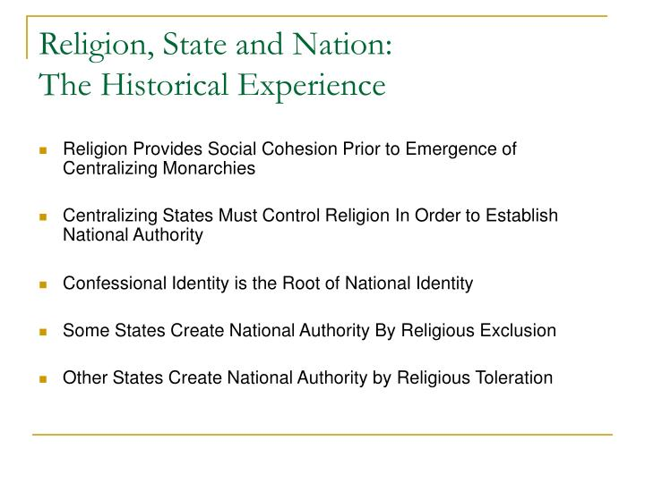 Religion, State and Nation: