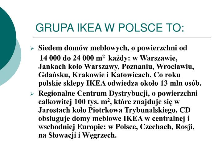 GRUPA IKEA W POLSCE TO: