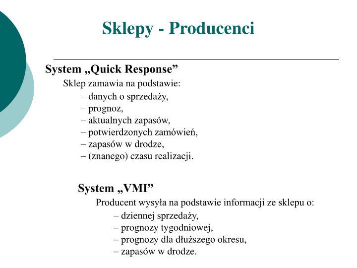 Sklepy - Producenci