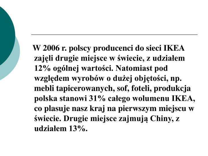 W 2006 r. polscy producenci do sieci IKEA zajęli drugie miejsce w świecie, z udziałem 12% ogólnej wartości. Natomiast pod względem wyrobów o dużej objętości, np. mebli tapicerowanych, sof, foteli, produkcja polska stanowi 31% całego wolumenu IKEA, co plasuje nasz kraj na pierwszym miejscu w świecie. Drugie miejsce zajmują Chiny, z udziałem 13%.