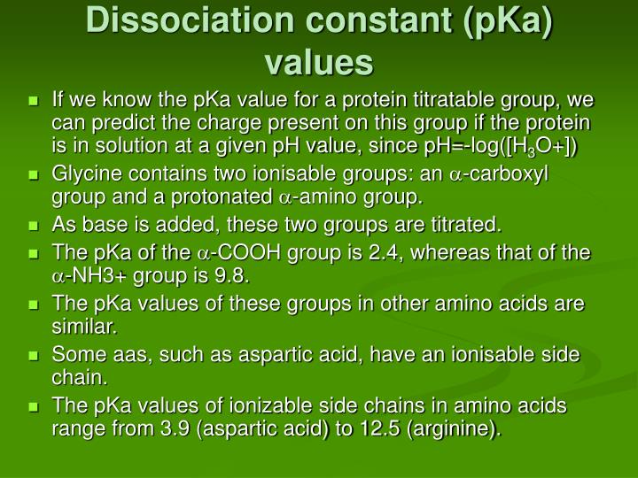 Dissociation constant (pKa) values