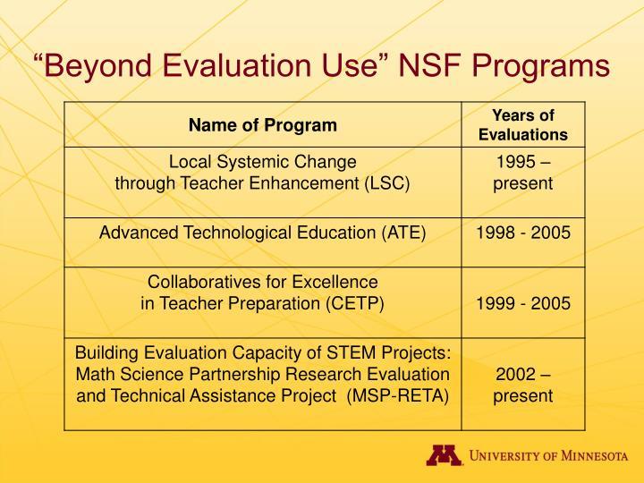 """Beyond Evaluation Use"" NSF Programs"