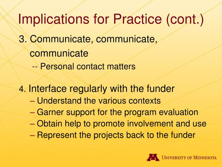 Implications for Practice (cont.)