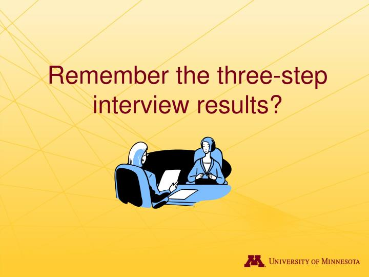 Remember the three-step interview results?