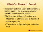 what our research found
