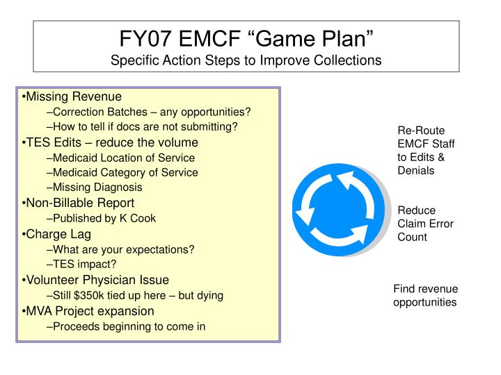 Fy07 emcf game plan specific action steps to improve collections1