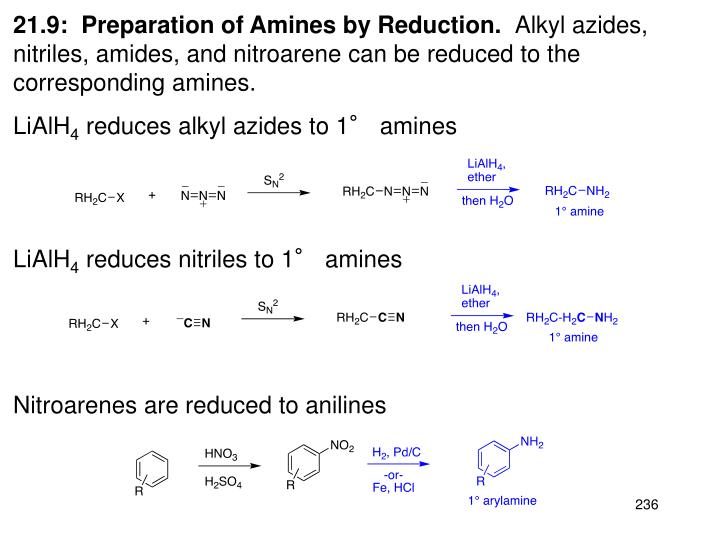 21.9:  Preparation of Amines by Reduction.