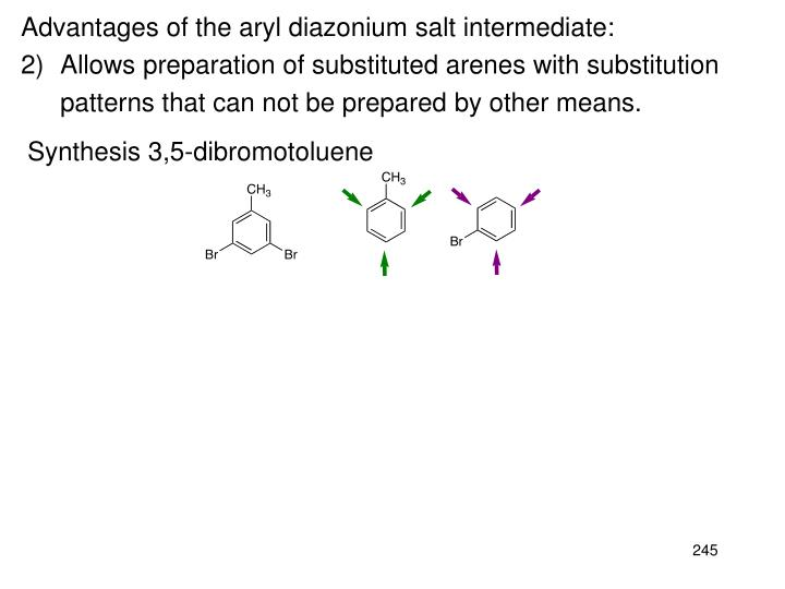 Advantages of the aryl diazonium salt intermediate: