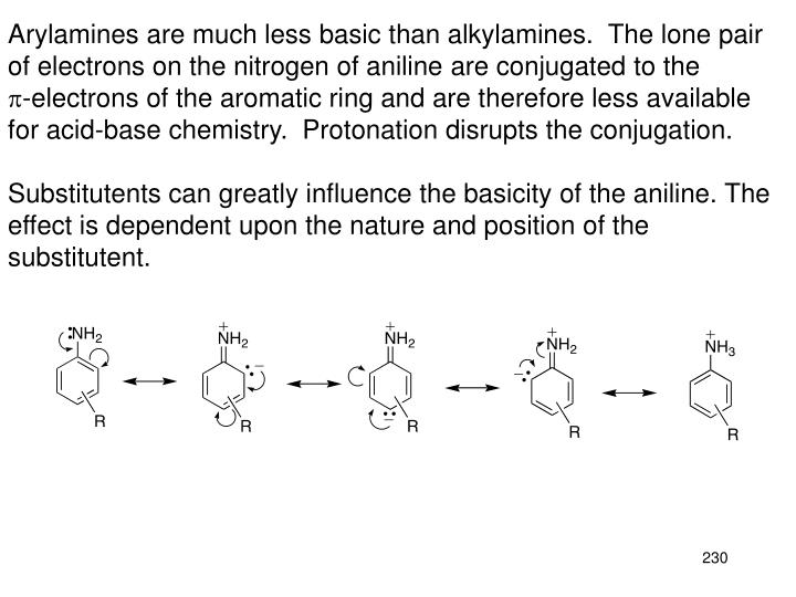 Arylamines are much less basic than alkylamines.  The lone pair