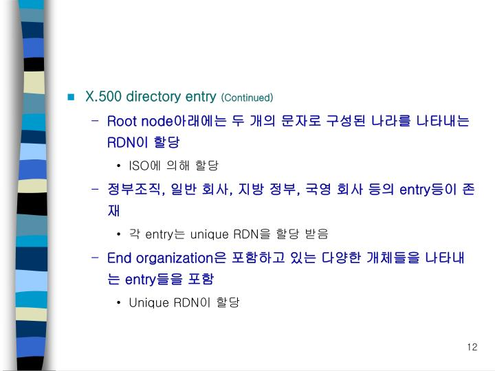 X.500 directory entry