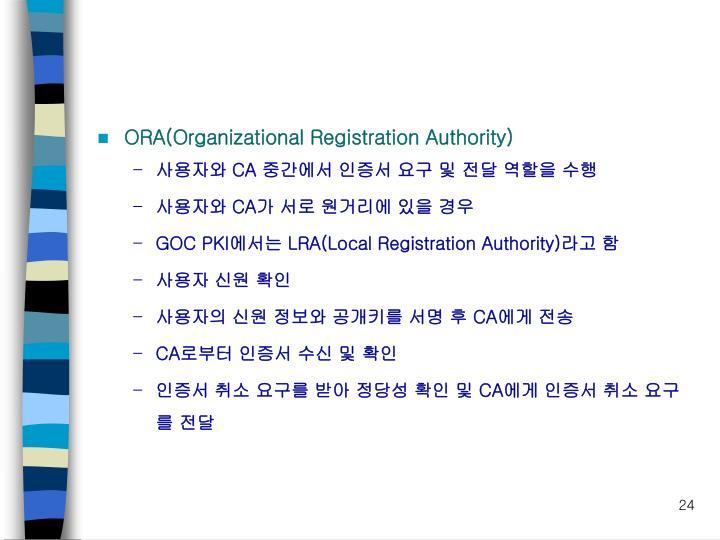 ORA(Organizational Registration Authority)