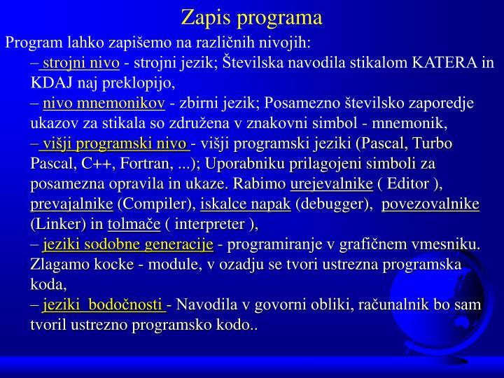 Zapis programa