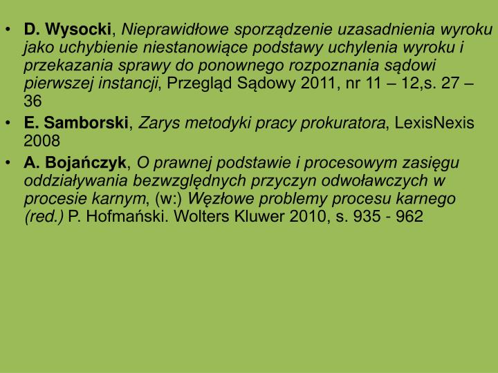 D. Wysocki