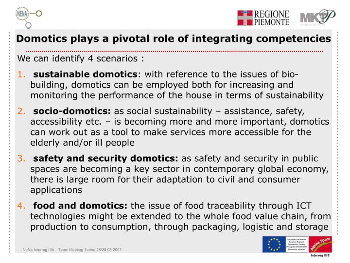 Domotics plays a pivotal role of integrating competencies