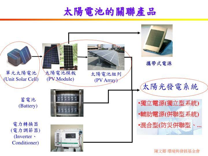 太陽電池的關聯產品