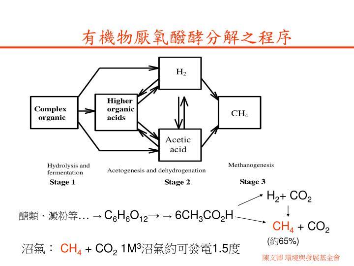 有機物厭氧醱酵分解之程序