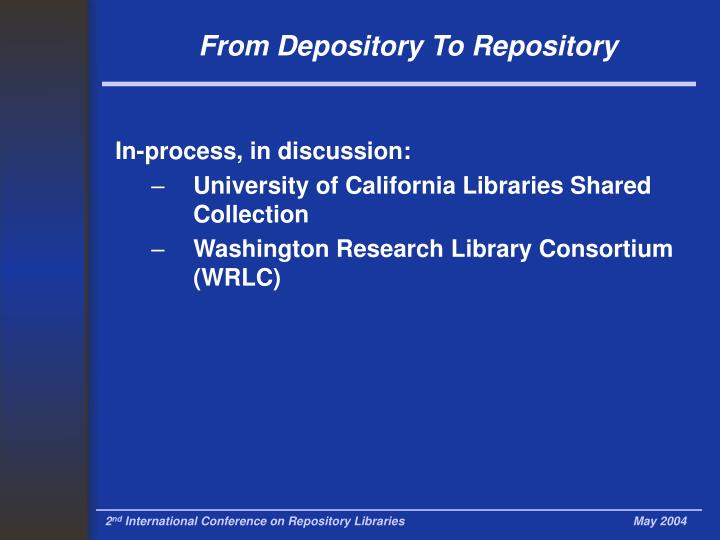 From Depository To Repository