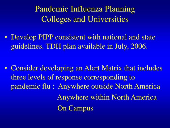 Pandemic influenza planning colleges and universities1