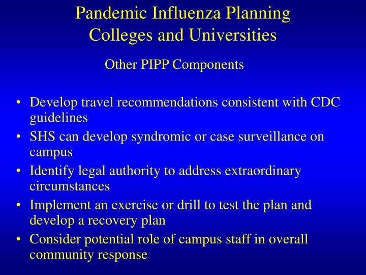 Pandemic Influenza Planning