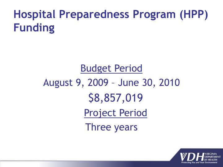 Hospital Preparedness Program (HPP) Funding