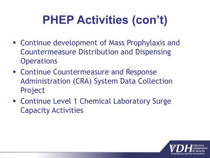 PHEP Activities (con't)