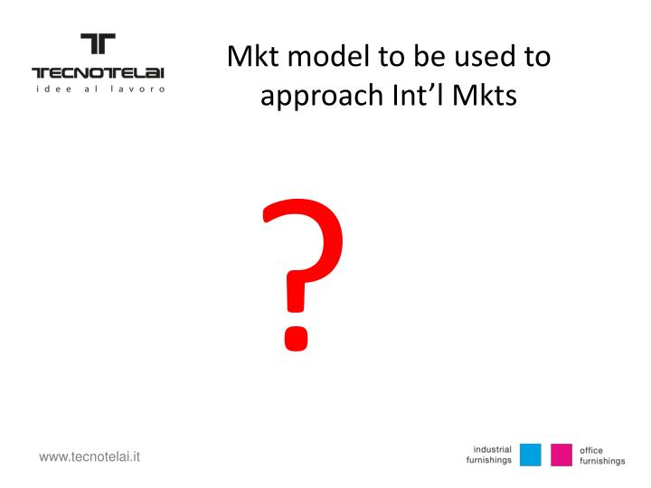 Mkt model to be used to approach Int'l Mkts
