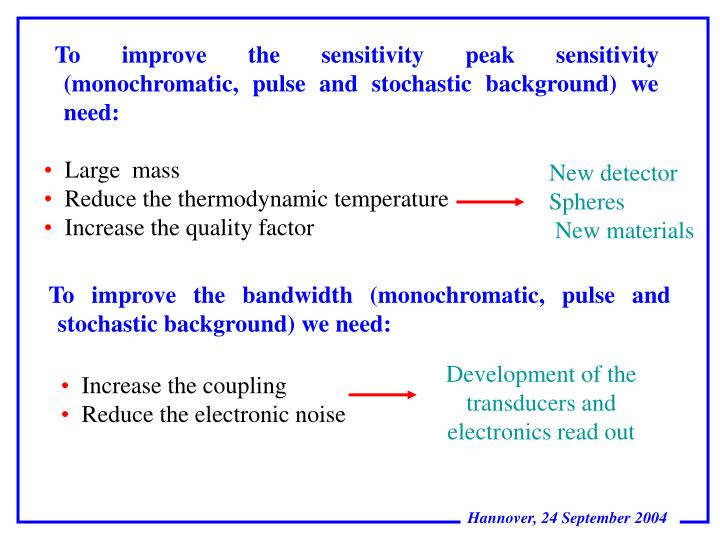 To improve the sensitivity peak sensitivity (monochromatic, pulse and stochastic background) we need: