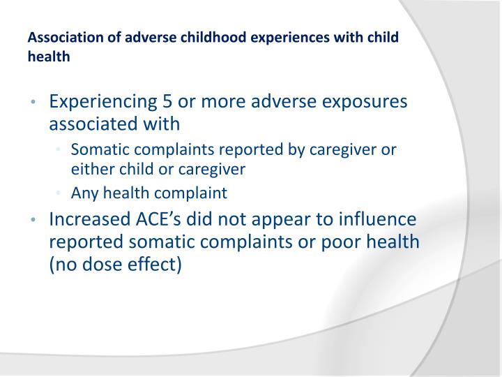 Association of adverse childhood experiences with child health
