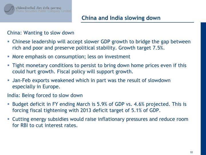 China and India slowing down