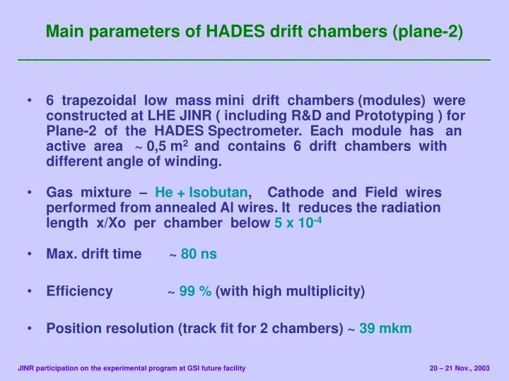 Main parameters of HADES drift chambers (plane-2)