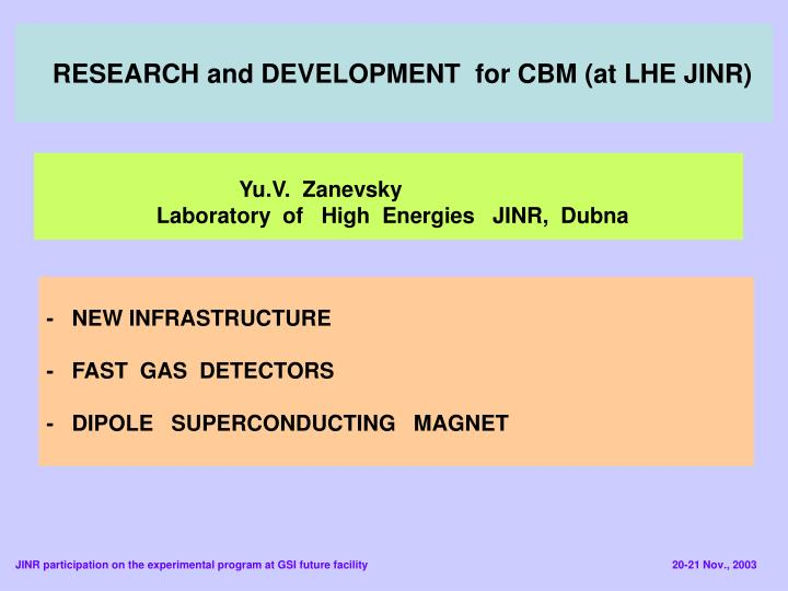 Research and development for cbm at lhe jinr