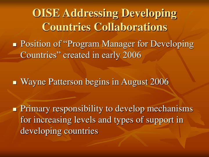Oise addressing developing countries collaborations