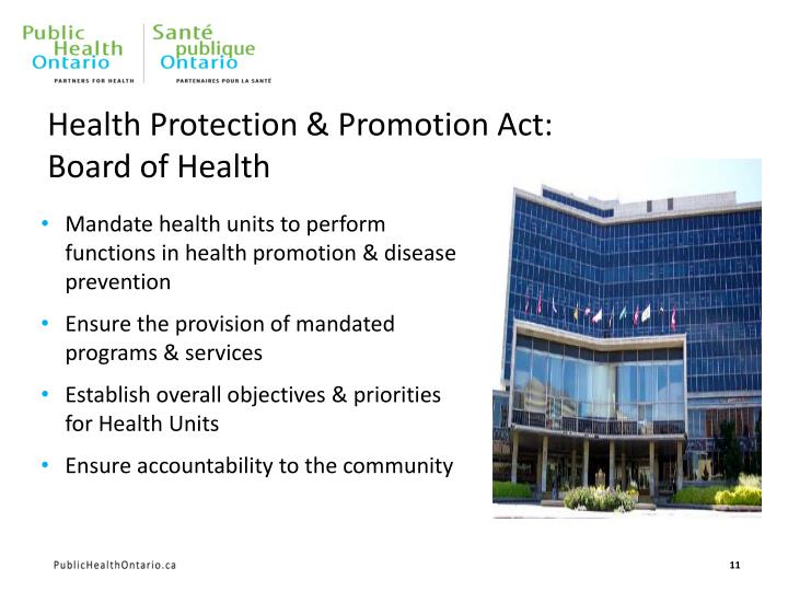 Health Protection & Promotion Act: