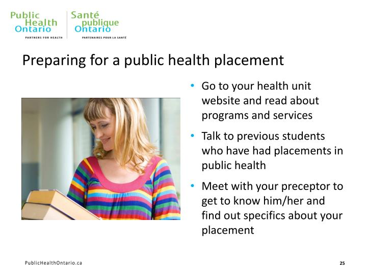 Preparing for a public health placement