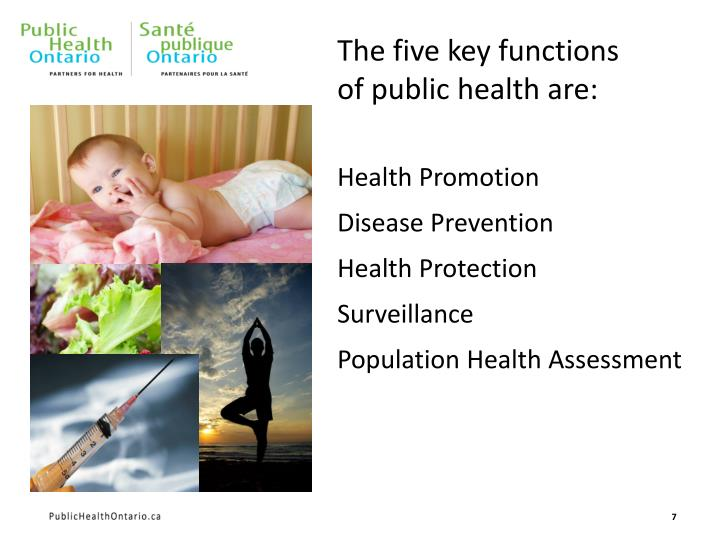 The five key functions of public health are: