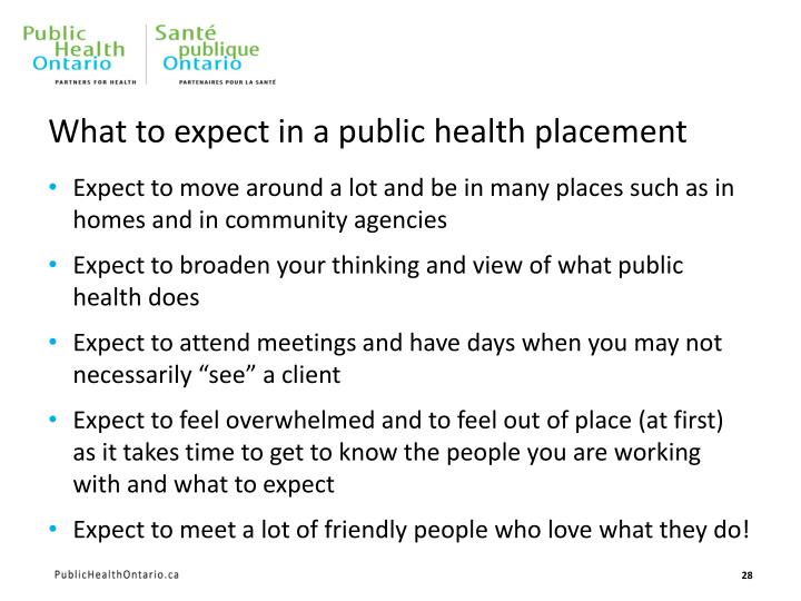 What to expect in a public health placement