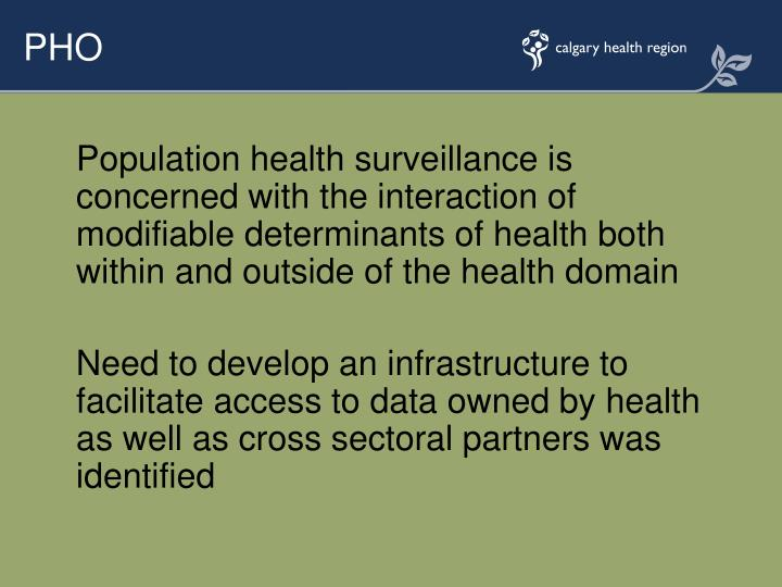 Population health surveillance is concerned with the interaction of modifiable determinants of health both within and outside of the health domain