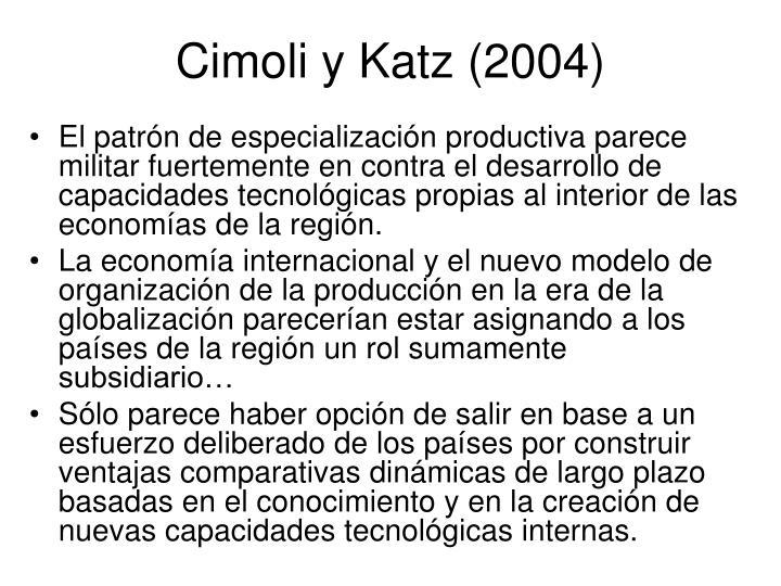 Cimoli y Katz (2004)