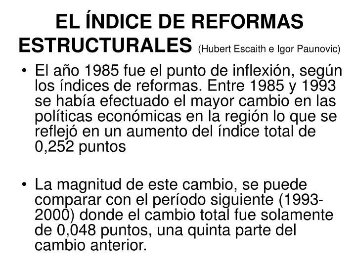 EL ÍNDICE DE REFORMAS ESTRUCTURALES
